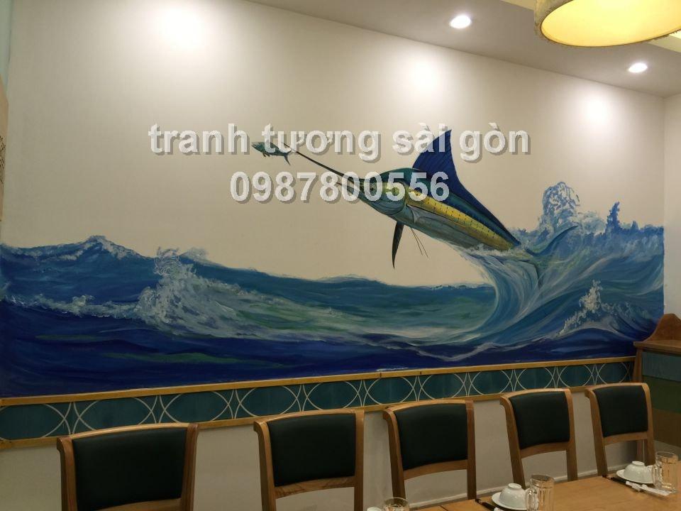 Vẽ tranh tường nhà hàng cá tại Q3