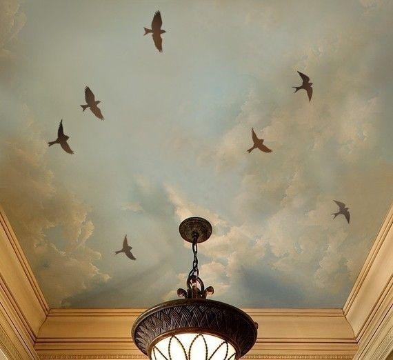 Tranh tường trần nhà đẹp, vẽ trang trí trần nhà.JPG